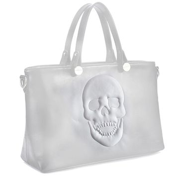 Mechaly Womens Skully White Vegan Leather Skull Handbag