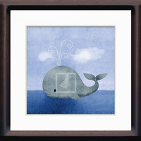 8x8 Maritime Grey Whale Wall Art Decor Room Print by Caramel Expressions