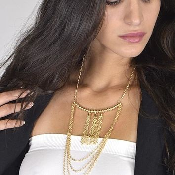 Layered Long Necklace with Tassel Accents