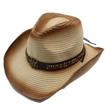 Vintage Chin Strap_ Floral Metal Leather Band_ Western Cowboy Panama Straw Hat
