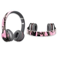 Mightyskins Protective Vinyl Skin Decal Cover for Dr. Dre Beats Solo HD Headphones wrap sticker skins Pink Tree Camo