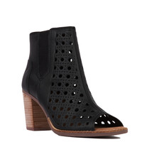 TOMS Majorca Peep Toe Black Leather Basketweave Heeled Booties
