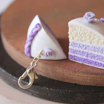 Cake charm purple ombre effect handmade with polymer clay realistic miniature food jewelry handmade miniatures handmade jewelry gift