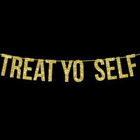 Treat Yo Self // Parks and Rec, Parks and Recreation, Typography, Print, Motivational, Inspirational, Park and Rec, Wall Decor, Home Decor,