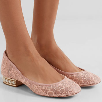 Nicholas Kirkwood - Casati faux pearl-embellished lace ballet flats