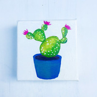 Cactus Art, Acrylic Painting on Stretched 3D Canvas, Cactus Painting, Prickly Pear Painting, Flowering Cactus, Cactus in Pot, Original Art