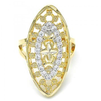 Gold Layered Multi Stone Ring, Flower Design, with Cubic Zirconia, Two Tone
