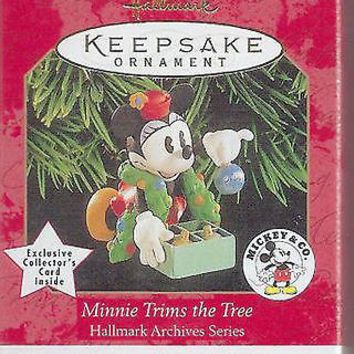 Licensed cool Disney 1999 HALLMARK MINNIE MOUSE TRIMS THE TREE Christmas Keepsake Ornament NEW