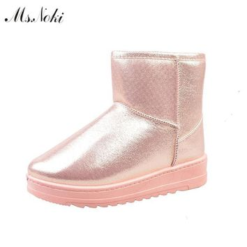 winter waterproof snow boots women platform warm plush ankle boots pu leather flat hee