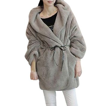 Women Winter Warm Hooded Fluffy Coat Fleece Faux Fur Poncho Jacket Outerwear Top