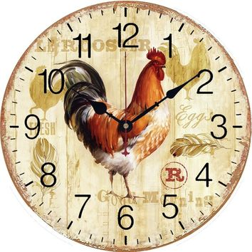 Primitive European-styled Country Rooster MDF Wall Mounted Clock Home Decoration