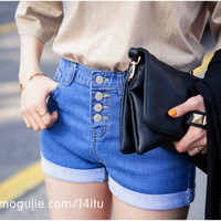 [Home] four buckle pineapple curling denim shorts