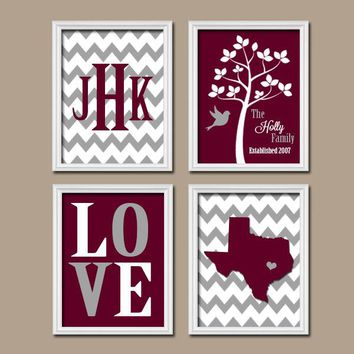 Texas Maroon Gray Custom Family Monogram Initial State LOVE Bird Tree College University Gift Wedding Date Set of 4 Wall Art Canvas or Print