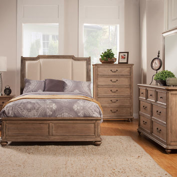 Alpine Melbourne California King Sleigh Bed with Upholstered Headboard