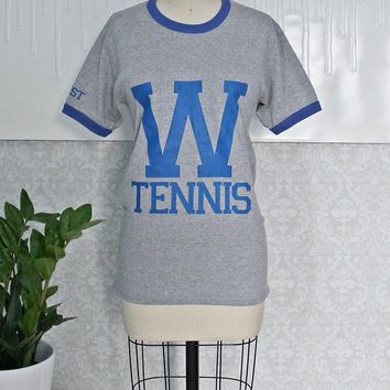 Vintage 1980s Ringer + Heather Gray Tennis Tee