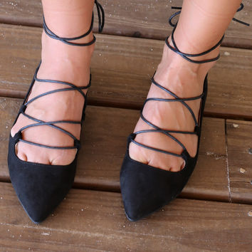 Chinese Laundry Elegant Dancer Black Suede Lace-Up Ballet Flat
