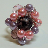 Pink and Black Spotted Rhodonite Stone Beaded Silver Wire Wrapped Ring