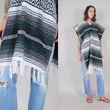 Mexican woven Blanket poncho