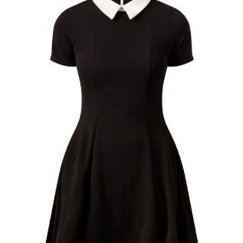Cameo Rose Black Contrast Collar Skater Dress