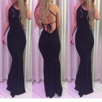 Black Tie Back Cross Back Mermaid Backless Halter Neck Party Maxi Dress