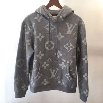 Louis Vuitton Casual Letter Print Velvet Long Sleeve Hooded Pullover Sweatshirt Top Sweater Hoodie