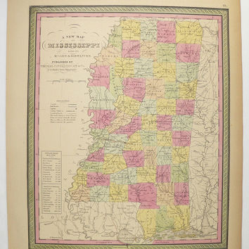 1852 Mitchell Map of Mississippi, MS Map, Art Gift for Friend, Antique Mississippi Map, Genealogy Research, Unique Birthday Gift for Wife