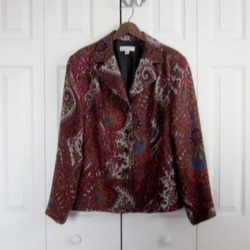 Vintage Rust Paisley Jacket, Coldwater Creek, Womens Large Jacket, Soft Lined Earthtone Blazer Jacket, Dressy Outerwear