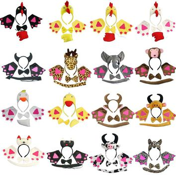 Assorted Animal Headband Bow Tie Tail Paws Gloves Cosplay  Set Kids Adults Carnival Party    Costume    Christmas Halloween