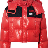 Miu Miu - Cropped two-tone quilted shell down jacket
