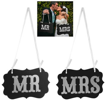 Mr & Mrs Letter Photo Booth Garland Banner Wedding Party Photography Props New (Color: Black) = 1933065220