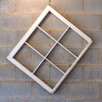 Vintage 6 Pane Window Frame - White, 32 x 28,  Rustic, Wedding, Engagement, Beach Decor, Photos, Pictures