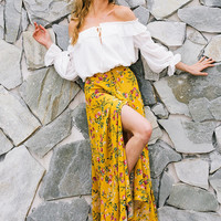 Yellow Floral Button Long Skirt