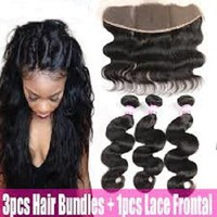Human Hair With frontal Body Wave Ear To Ear Lace Frontal With 3 Bundles