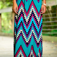 Aztec Chevron Maxi Skirt, Teal