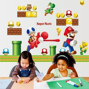 HOT Super Mario Bros ZY071  Removable Wall Stickers for Kids Baby Rooms Decoration Adesivo De Parede Home Decor Wall Decals art