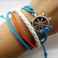 silvery rudder pendant Leather and Ropes Women Cuff Bracelet Unisex Bracelet Jewelry Cuff Bangle  839A