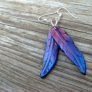 Feather Earrings  Red and Blue Polymer Clay and by JustClayin