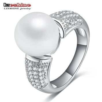 LZESHINE Top Quality Imitation Pearl & Zirconia Rings Silver Color Ball Shape Lovely Rings for  Women Anniversary CRI0164-B