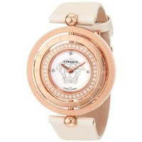 Versace Women's 80Q81SD497 S002 Eon Three Rings Rose-Gold Plated 40-Diamond Mother-Of-Pearl Satin Watch - designer shoes, handbags, jewelry, watches, and fashion accessories   endless.com