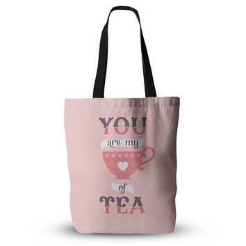 "Daisy Beatrice ""My Cup of Tea"" Pink Purple Everything Tote Bag"