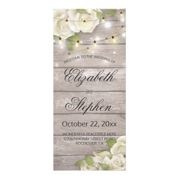 Rustic Wood Floral String Lights Wedding Program