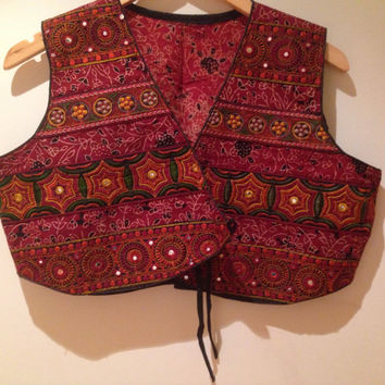 Red jacket/ red embroidered jacket / kutch red jacket / red embroidered jacket/handmade red jacket / red jacket blouse/ red indian blouse