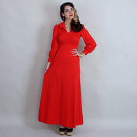 1970s Smocked RED Maxi Dress | 70s Puff Sleeve Long Dress | xs/s