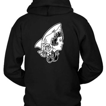 Macklemore And Ryan Lewis Shark Face Gang Original Illustration Black And White Hoodie Two Sided