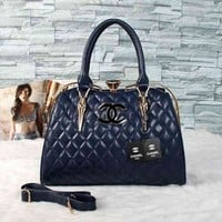 CHANEL Trending Women Logo Leather Satchel Tote Handbag Shoulder Bag Dark Blue I