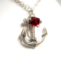 Anchor Rockabilly Necklace with Red Crystal by mktENGINEER