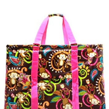 Utility Tote Extra Large - Monkey Print - 2 Color Choices