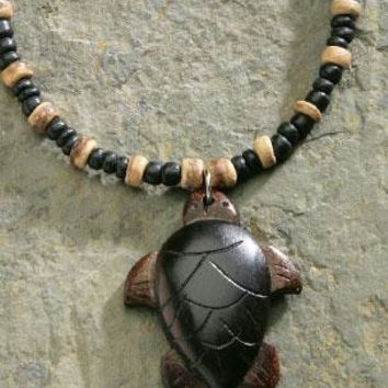 Wooden Honu with Black and Brown Bead Necklace