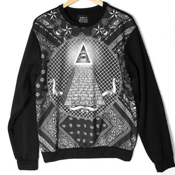 Illuminati Pyramid Eye Tattoo Print Tacky Ugly Sweatshirt