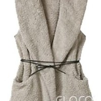 Women's Sleeveless Faux Fur Coat Hoodie Jacket Hooded Furry Vest Outerwear